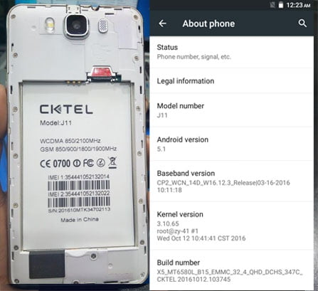 Cktel J11 Flash File without password