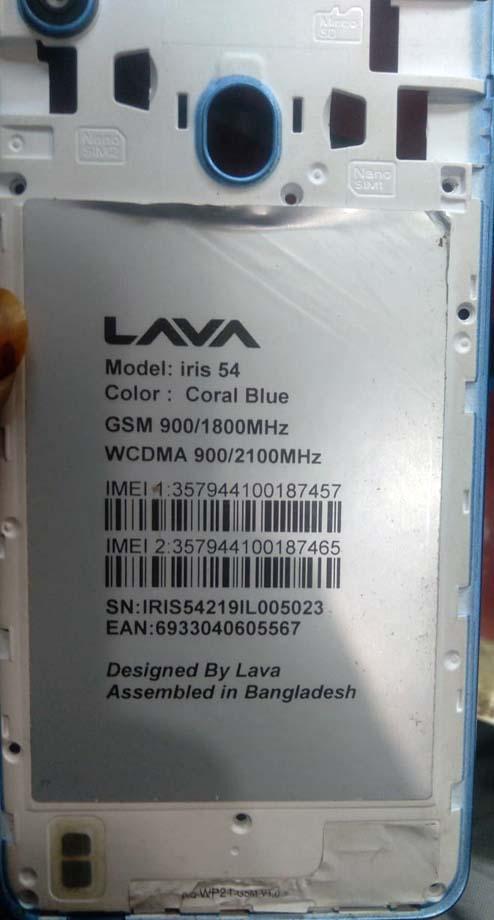 LAVA iris 54 flash file