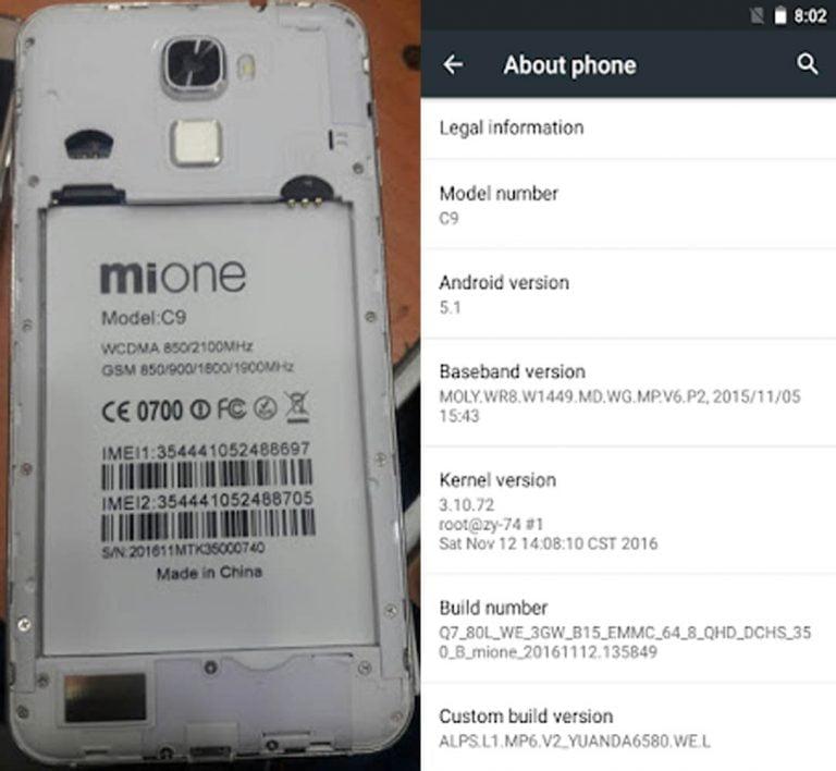 Mione C9 Flash File | Firmware 3