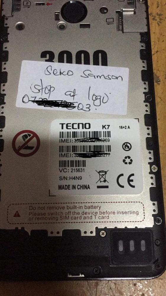Tecno K7 Flash File 3